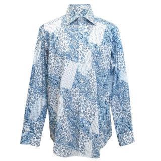 Etro Blue and White Paisley Pattern Shirt