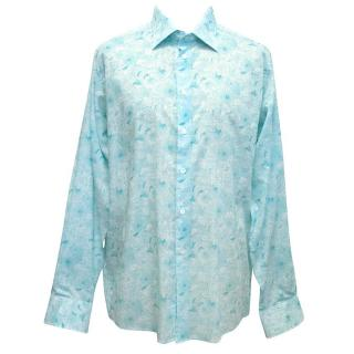 Richard James Turquoise and White Floral Patterned Shirt