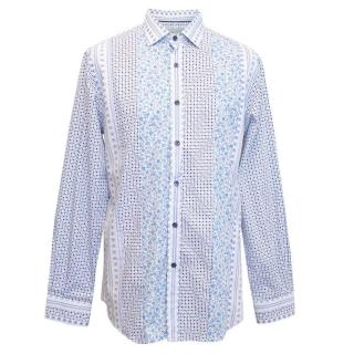 Etro men's blue and white pattern shirt