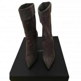 Saint Laurent Grey Suede Wedge Boots