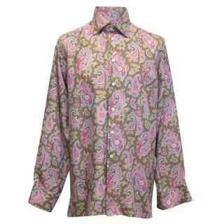Richard James Green Silk Shirt With Pink Paisley Pattern