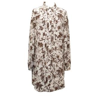 Tory Burch White Long Silk Blouse With Brown Floral Pattern