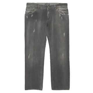Dolce & Gabbana men's grey distressed jeans