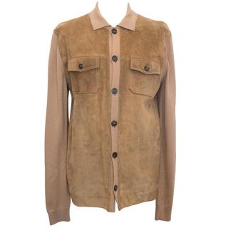 Gucci Tan Suede and Wool Cardigan With Collar