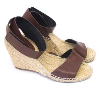Celine brown ankle strap wedges