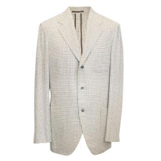 Camoshita cream and brown checked blazer