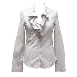 Armani Jeans Grey Ruffle Shirt