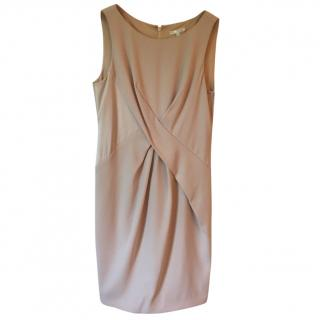 PAULA KA nude coloured sleeveless fitted dress