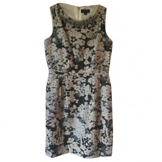 TAHARI ARTHUR S. LEVINE ivory, silver, charcoal floral print dress
