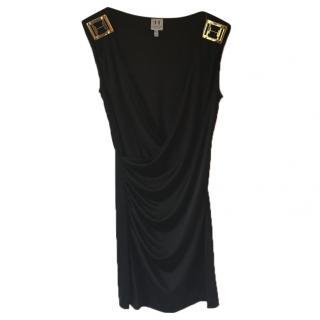 HALSTON HERITAGE black stretchy fitted v neck dress