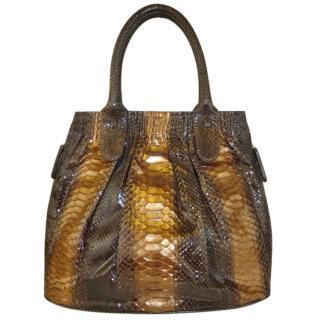 Zagliani Brown Snakeskin Puffy Bag