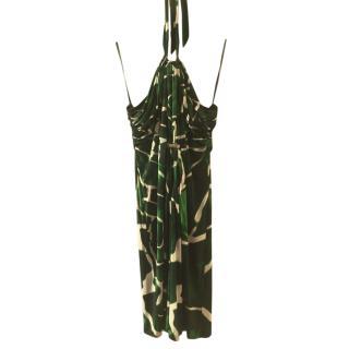 Roberto Cavalli Green Print Halter Neck Silk Dress