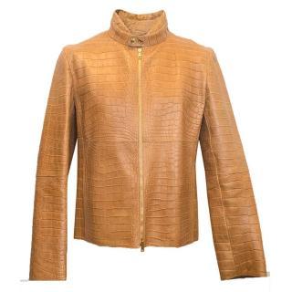 Gucci tan crocodile jacket