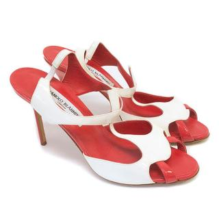 Manolo Blahnik Red and White Heels