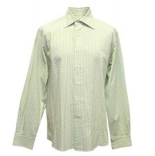 Etro Green and White Striped Shirt
