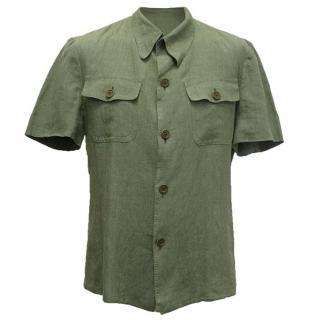 Bottega Veneta olive green short sleeved shirt