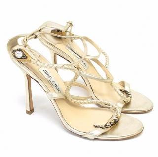 Jimmy Choo Gold Snake Sandals