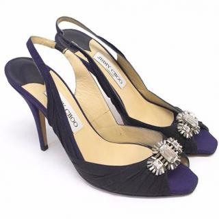 Jimmy Choo Navy and Black Sling Back Heels