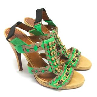 Lanvin green heeled sandals
