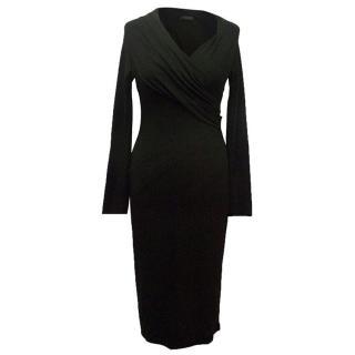 Donna Karan black long sleeve wrap dress