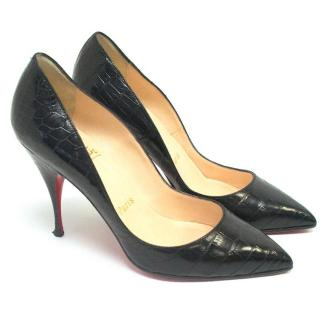 Christian Louboutin crocodile black pumps