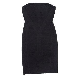 Herve Leger black strapless dress
