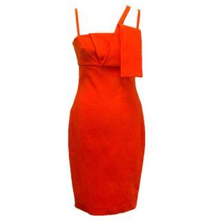 Mugler orange midi dress