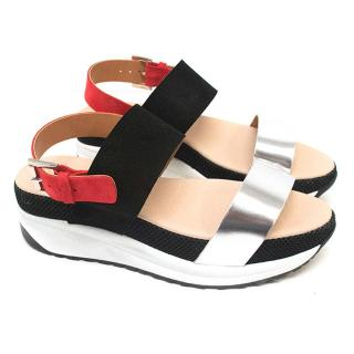 Kurt Geiger Chunky Silver, Black and Red Sandals