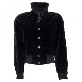 Escada by Margaretha Ley cotton velvet luxury jacket quilted embroider