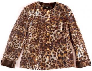 MCM jacket leopard prind transparent sequins gold logged button