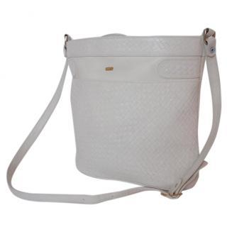 Bally white braided bag crossbody leather basket gold tag purse