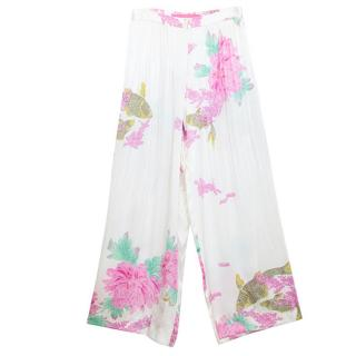 Emanuel Ungaro Cream Silk Trousers with Pleats and Floral Print