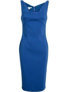 ANTONIO BERARDI BLUE PANELLED PENCIL DRESS