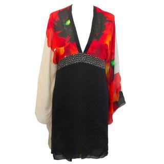 Roberto Cavalli red, black and cream tunic