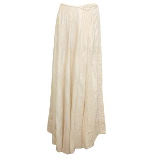 Dries Van Noten Cream Silk Blend Full Skirt