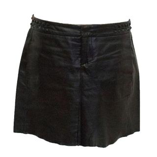 Maje black leather mini skirt