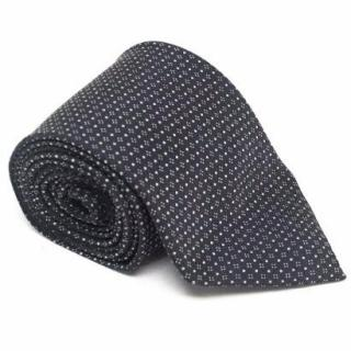 E. Marinella Black with White Dot Print Tie