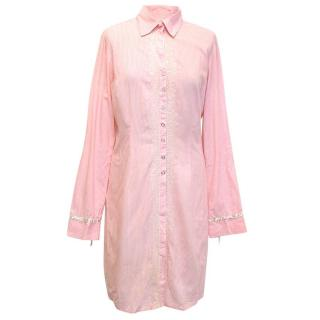 Two ten ten five pink striped shirt dress
