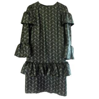 Dries Van Noten Metallic Ruffle Midi Dress