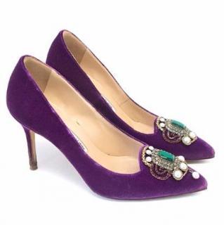 Manolo Blahnik Purple Velvet Heels with embellishment