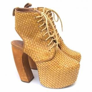 Jeffrey Campbell Raffia Ankle Boots with Ankle Cutout