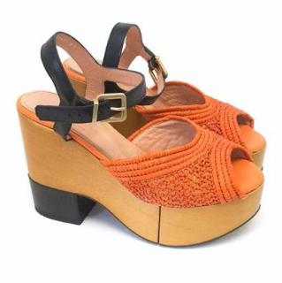 Robert Clergerie Orange Wooden Wedge Sandals