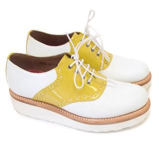 Grenson white and yellow oxford shoes