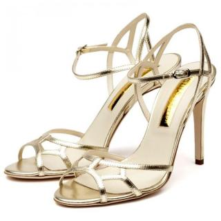 Rupert Sanderson Flare Gold Sandals
