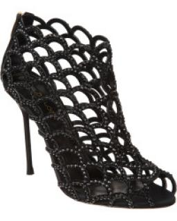 Sergio Rossi Mermaid Crystal Peep Toe Booties in Black