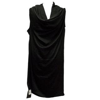 Halston black cowl neck dress
