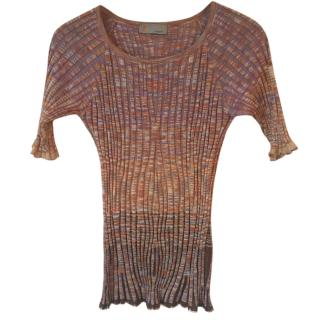 M Missoni lilac, orange stretchy top with elbow length sleeves