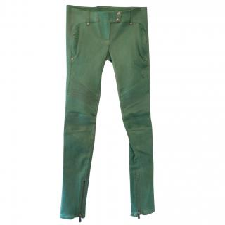 Balmain green leather trousers