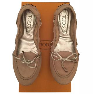 Tods suede leather ballerina shoes size 36