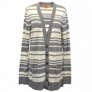 Tory Burch Grey and White Striped Cardigan